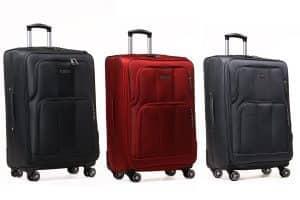 Drei koffer schwarz, rot und grau
